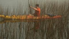 Kayaker paddling through the reeds in early morning fog Stock Footage