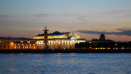 Stock Video Footage of Neva River in St Petersburg at Evening