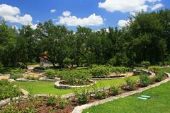 austin zilker taniguchi gardens in austin - stock photo