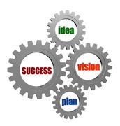 success, idea, vision, plan in silver grey gearwheels - stock illustration