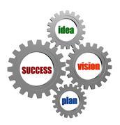 Success, idea, vision, plan in silver grey gearwheels Stock Illustration