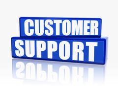 customer support in blue blocks - stock illustration