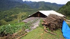 house at cat cat village in sapa - stock photo