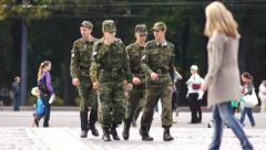 Soldiers Patrol marching in The City Russia Slow Motion Stock Footage
