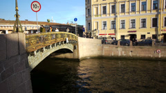 Three Arched Bridge in St Petersburg Russia at Sunset Stock Footage