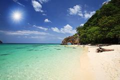 tropical beach and natural stone arch, thailand - stock photo