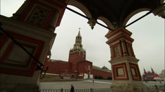 Red Square Kremlin view from Saint Basils Cathedral Stock Footage