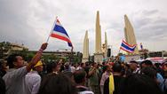 Stock Photo of anti-government protesters gather at democracy monument