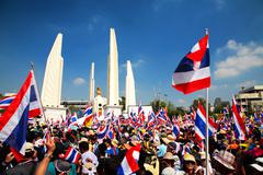 protesters at democracy monument to anti amnesty bill - stock photo