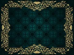 Vector greeting card with golden frame on vintge seamless pattern Stock Illustration