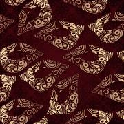 vector seamless floral pattern with carnaval masks - stock illustration