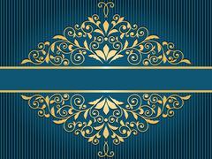 Vector vintage greeting card with  golden floral pattern Stock Illustration