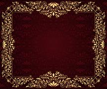 vector greeting card with golden frame in vintge seamless pattern - stock illustration