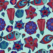 Stock Illustration of vector seamless spring floral pattern