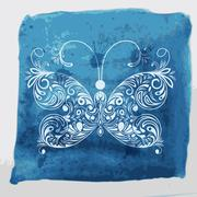 Stock Illustration of vector white butterfly on watercolor blue background with blots and splashes