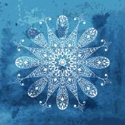 Stock Illustration of vector white snowflake on watercolor blue background and blobs