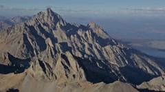Aerial shot of the Teton Mountain Range in Idaho and Wyoming Stock Footage