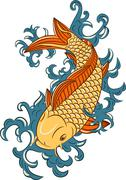 Japanese style koi  (carp fish) Stock Illustration