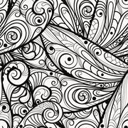 vector seamless beautiful  monochrome pattern - stock illustration
