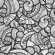 vector seamless ethnic doodle pattern - stock illustration