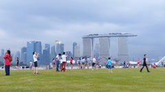 Asia Singapore Skyline over Financial district n Sands hotel Sky Park Stock Footage