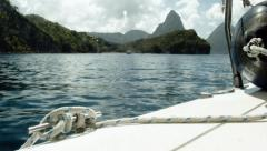 Yacht journey to the Pitons, St. Lucia Stock Footage