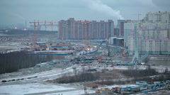 New bridge project in continuation of Heroes avenue,  St. Petersburg, Russia Stock Footage