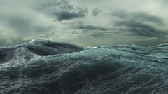 4K Rough Sea Loop 3D A loop of big waves in an agitated ocean Stock Footage