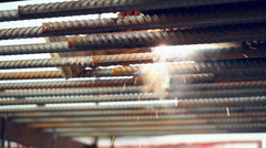 Falling welding sparks - stock footage