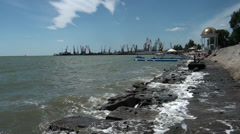 Embankment and moorage for cutters in city Berdiansk Stock Footage