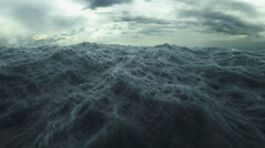 Rough Sea seamless loop. big waves in a stormy ocean. - stock footage