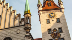 MUNICH, GERMANY - The historical town hall on the main square Stock Footage