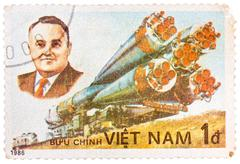 Stamp printed in the vietnam shows korolev spacecraft designer and rocket Stock Photos