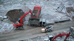 Construction site with machinery: lorries, excavator, loader. Timelapse video HD Stock Footage