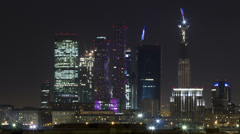 Moscow, Skyine Time Lapse at Night #1 Stock Footage