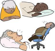 mature people sleeping - stock illustration