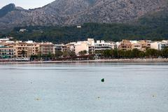 The beach with the evening-time in alcudia  on majorca Stock Photos