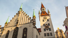 MUNICH, GERMANY, time lapse of The historical town hall on the main square Stock Footage