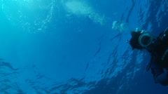Underwater footage diver air bubbles surface corsica corse mediterranean Stock Footage