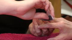 Elderly woman manicure HD Stock Footage