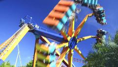 Scary attraction at an amusement park Stock Footage