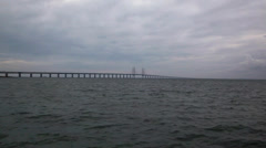 Bridge on the sea,oresunds bridge, sweden malmo Stock Footage