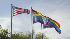 USA and rainbow flags waving Stock Footage