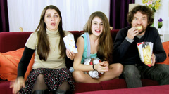 Family excited and happy about winning soccer world championship Stock Footage