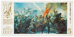 """Stamp printed in ussr shows the """"assault of winter palace"""", by v.a. serov, de Stock Photos"""