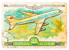 stamp printed in ussr shows the aeroflot emblem and aircraft with the inscrip - stock photo