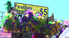 Mardi Gras headbands for sale at French Market - stock footage