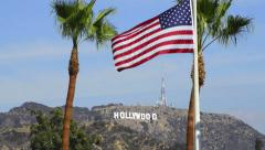 Hollywood Sign with American in the foreground - stock footage