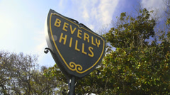 Beverly Hills sign with tree in the back - stock footage