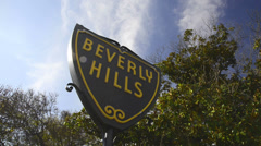 Beverly Hills City sign during a windy day Stock Footage